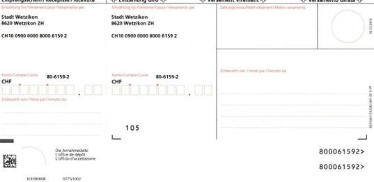 Bild Einzahlungsschein rot für Stadtkasse
